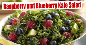 Raspberry and Blueberry Kale Salad